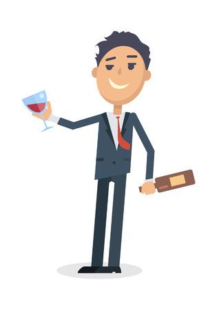 Homme avec bouteille de vin isolé sur blanc. Vecteur Vecteurs