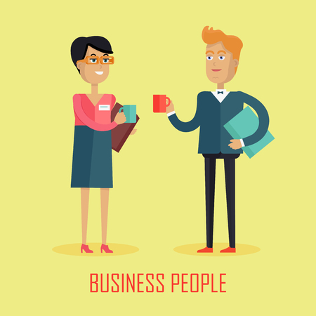 socializando: Business people coffee break. Business team coffee break relax concept. Two business colleagues communicating at break. Smiling young personage. Flat design vector illustration