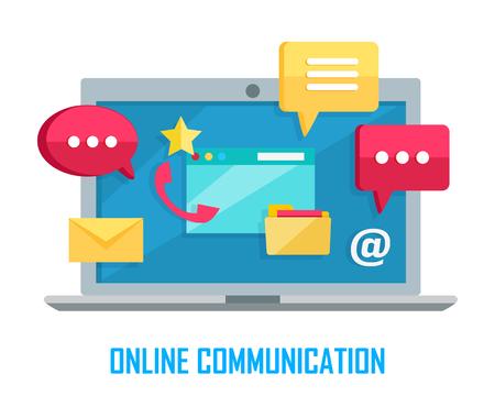 Laptop met Chat Web Gesprekstekens Geïsoleerd