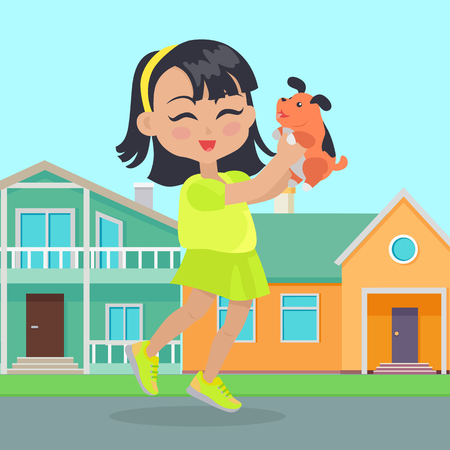 Girl holds small dog in her hands in front of houses. Little girl has leisure time. School girl during break. Young lady at playground, playing with toy puppy. Favourite toy. Daily activity. Vector Illustration