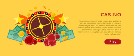 online roulette: Casino gambling horizontal website template. European roulette wheel, chips and money on yellow background. Banner for online casino. Vector illustration in flat style. Casino background