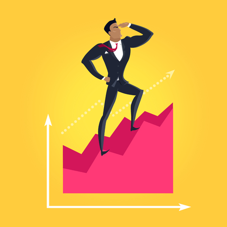 dynamic growth: Business success vector concept. Flat design. Career and economical competition. businessman standing on graph and looking into the distance. Progress indicators and earnings growth illustration. Illustration