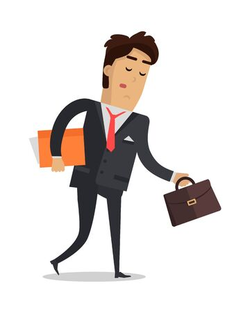 wants: Tired man with book and suitcase going home isolated on white. Male in expensive suit tired after busy working day. Person wants to have a good rest. Vector design illustration in flat style.