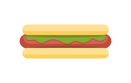 Hod dog vector illustration. Flat design. Traditional fast food dish with buns, sausage, salad and spices. Junk street snack. For food concepts, diet infographics, restaurant menu and ad. On white Illustration
