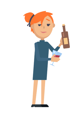 Girl with glass of wine and bottle isolated on white. Woman wants to relax. Lady at the party. Lonely girl drinking alone. Wine degustation. Waitress offer glass of wine in flat style design. Vector Ilustração