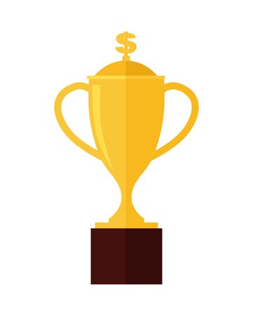 Gold trophy cup award isolated on white. Professional growth. First prize place. Achieving best results due to constant learning. Business education. Victory Concept. Vector illustration