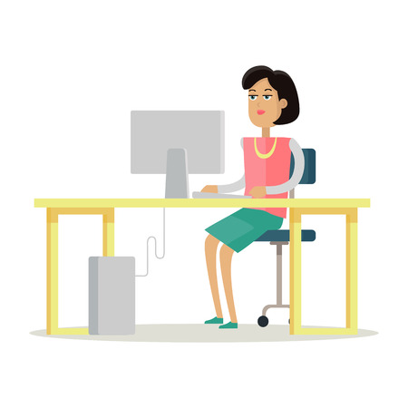 Young business woman works on her desktop in office, sitting at desk, looking at computer screen. Young woman personage in flat design isolated on white background. Vector illustration. Illustration
