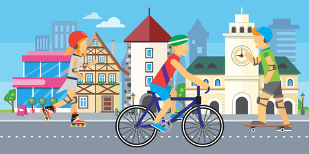Children going in for sport in city. Urban town landscape at daytime on background. City street vector illustration. Modern town building. Metropolis panorama. Vector illustration in flat style