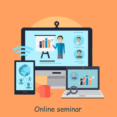 Online seminar. Afstand werk. Communicatie door middel van de computertechnologie. Internet vaardigheden. Motivatie webinar. Deel van de serie op het ontwikkelen van succesvol leiderschap in team werken. Vector