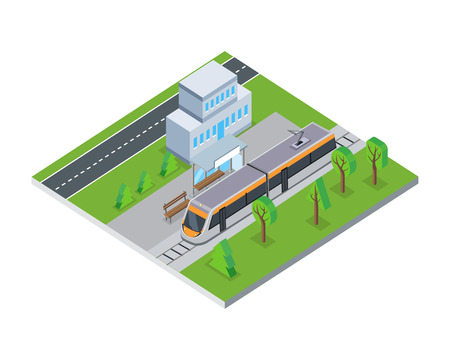 Isometric Gray Public Tram in City