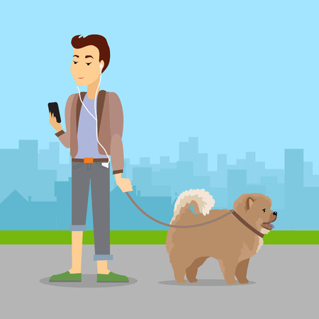 Phlegmatic Temperament Type Boy Walking with Dog Illustration