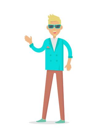 Elegant Rich Blond Man in Sunglasses. Vector