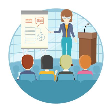 ビジネス講義概念ベクトル。フラットなデザイン。インフォ グラフィック ボード近くセミナー開催の女性。オフィスでトレーニング。教育企業、キ  イラスト・ベクター素材