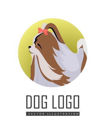 Dog Logo Vector of Pekingese Isolated on White