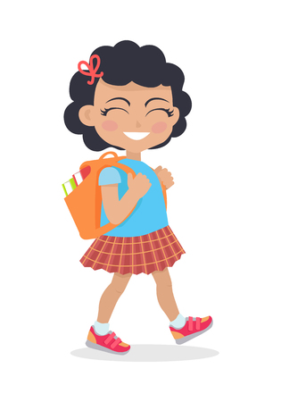having fun: Girl Going in for School with Rucksack Isolated Illustration