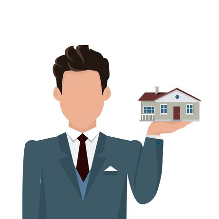 Real estate conceptual vector in flat design. Businessman character holding house in hand. Realtor. Buying a new place for living. Illustration for real estate company advertising, housing concepts.