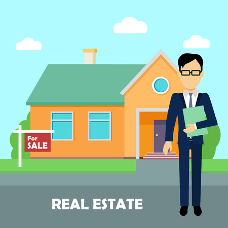 Real estate broker at work. Building for sale
