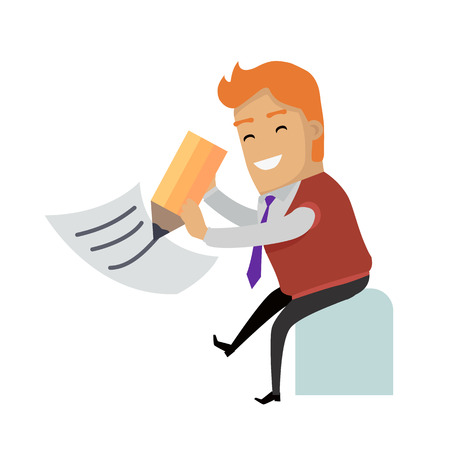 Writing letter. Smiling man writing big pencil on sheet of paper vector illustration isolated on white background. Filling tax return.For mail app icon, professions infographic, communication concept Illustration