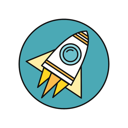 Spaceship round icon in flat. Spaceship on round blue background. Spacecraft icon. Rocket icon. Business design element. Design element, sign, symbol, icon in flat. Vector illustration.