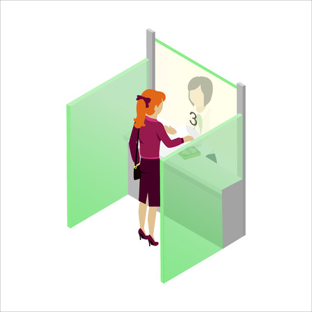 banco dinero: caja registradora en el vector banco en proyección isométrica. mujer de la cabeza de lectura da dinero en cajero de banco. Ilustración para negocios, las empresas financieras de anuncios, aplicaciones de diseño, iconos, infografía.