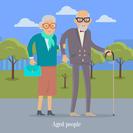 Aged People Walking in Park Happy Senior Man Woman Illustration