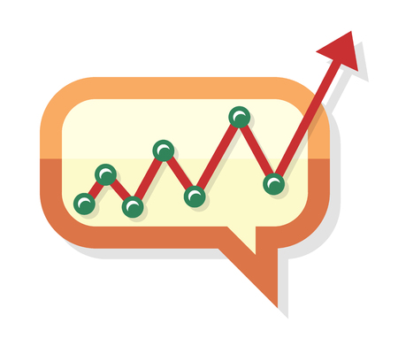 Growing chart process arrow in chat speech bubble. Web bubble isolated on white. Interface dialog, application balloon. App icon flat style design. Process of investment growing. Sales up. Vector