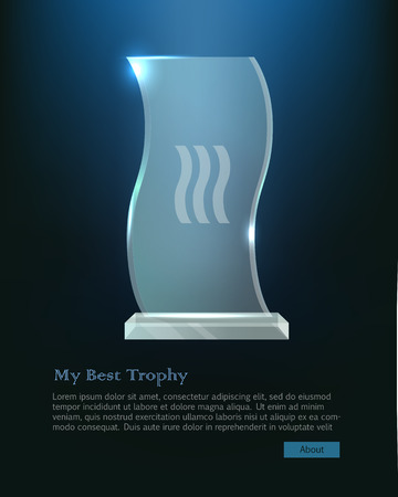 basement: Trophy. Beautiful realistic crystal award with in wave shape on bright dark blue background. Plate basement. Three little waves in the center. Shiny. Glossy. Flat design. Vector illustration