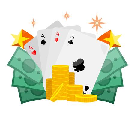Poker Conceptual Vector Web Banner in Flat Design Illustration