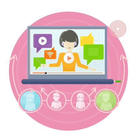 Interactive Learning on Laptop Screen Illustration