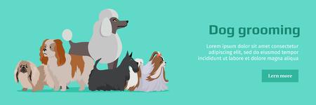 Bannière de toilettage pour chien. Chiens de longue chien Banque d'images - 71427190