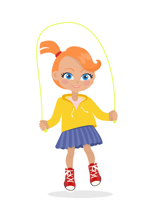 Girl Jumping on Rope Isolated on White. Vector