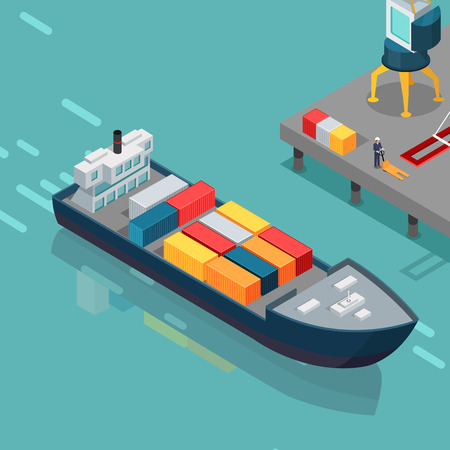 port: Cargo Port Illustration in Isometric Projection