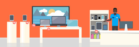 shop assistant: Shop Specialized on Selling Electronic Equipment. Illustration