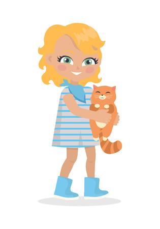 small girl: Girl Holds Small Cat in Hands Isolated on White