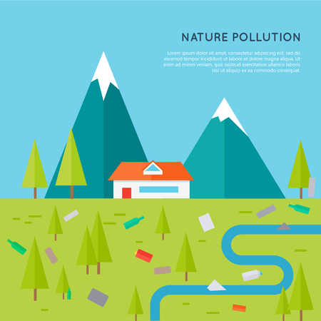 Nature pollution concept vector. Flat design. Illustration of mountain landscape with house, trees, river contaminated plastic, glass, paper waste. Human impact on the environment. Garbage in nature.
