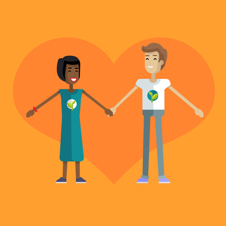 Smiling man and woman with branch and leaves emblem on clothes, standing and holding hands. Ecologist, environmentalist, nature protection activist or volunteer illustration. Flat design. Earth day.