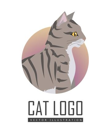 beautiful homes: Toyger Cat Vector Flat Design Illustration