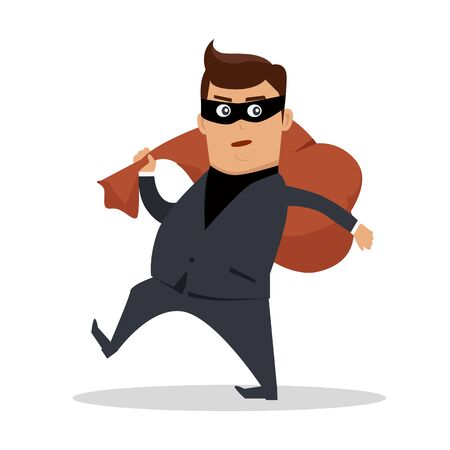 law of panama: Money Stealing Concept Flat Design Vector Stock Photo