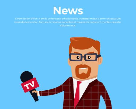 news reporter: Breaking News Reporter Vector Illustration.