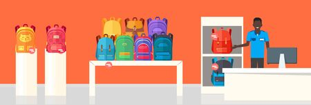 table sizes: School Bag Store. Two Sellers Offering Backpacks Illustration