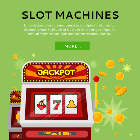 Slot Machine Web Banner Isolated on Green Ilustrace