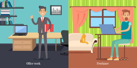 worker working: Office Worker at Working Place. Freelancer at Work Illustration