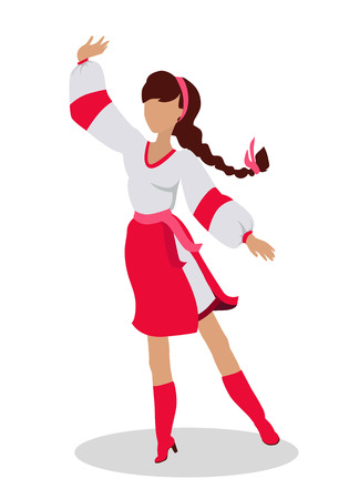 Woman in Ukrainian National Clothes Dance Vector Illustration