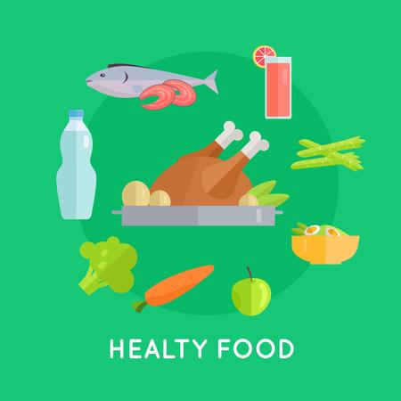 raw chicken: Healthy Food Vector Conceptual Illustration.