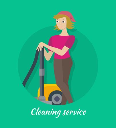 limpieza: Servicio de limpieza del concepto de vector de diseño plano