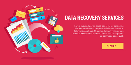 data recovery: Data Recovery Services. Set of Concept Flat Icons Illustration