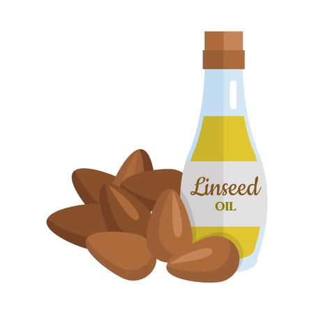 Linseed Oil Vector Illustration in Flat Design. Illustration