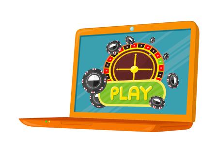 online roulette: Online Games Banner Laptop Casino Roulette Wheel