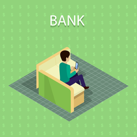 Bank Concept Vector in Isometric Projection . Illustration