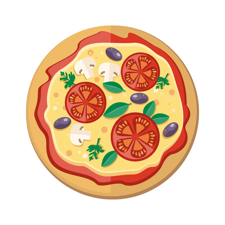 margherita: Pizza with Tomatoes, Olives, Mushrooms and Herbs Illustration